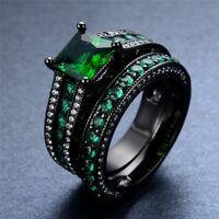 2Ctw Princess Cut Emerald Women Wedding Bridal Ring Set 14KT Black Gold Finish