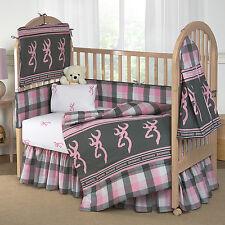 Girls Browining Plaid  Bedding Crib Set 8 Pcs Comforter Bumper Pad Sheet + More