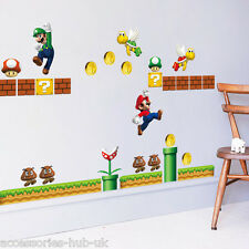 SUPER MARIO BROS Wall Stickers Removable Decal Kids Boys Nursery Play Room Decor