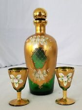 Vintaage Italian Green glass hand painted decanter and cups set