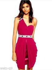 LIPSY VIP EMBELLISED ONE SHOULDER DRAPE DRESS Wine Red NEW RRP £110 Sz 8