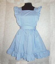 M/L Ruffled Bib Apron Pinafore new Blue, Red or Pink Gingham Checks handcrafted