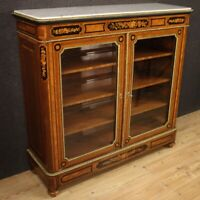 Bookcase vitrine cabinet furniture in inlaid wood antique style marble top
