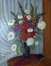 Jo Garnier huile sur toile signée art naïf bouquet de fleurs nature morte