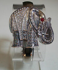 Elephant Good Luck Charm bracelet Silver finish fashion women's bangle watch