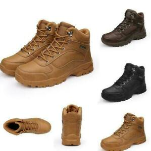 Mens Leather High Top Lace Up antiskid Outdoor Hiking Climbing Ankle Boots Shoes