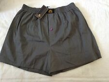 BNWT 100% Auth WILLIAM HUNT, Men's BUTTON FLY BOXER SHORTS SLATE GREY. S