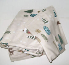 Cuddl Duds Heavyweight Lodge Cabin Tree Deer Scene Flannel Twin Sheet Set New