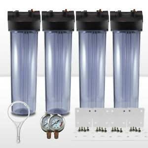"4 x 20"" x4.5"" Big Blue Clear WH Filter Housing 1"" Ports W/ Pressure Gauge"