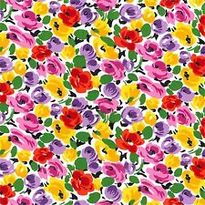 Cotton Poplin Flowers - All Over Floral Fabric Material - 0798