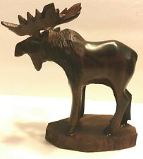 MOOSE WOOD FIGURINE HAND CARVED STATUE LODGE CABIN DECOR BEAUTIFUL