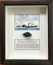 SS REPUBLIC SHIPWRECK COAL IN SHADOWBOX HISTORICAL ARTIFACT AWESOME!!!