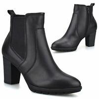 Womens Leather Mid Block Heel Zip Up Smart Chelsea Ankle Biker Boots Shoes Size