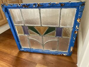 VTG Antique Alligatored Blue Paint Vintage Church Stain Lead Glass Window