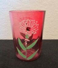 Antique Victorian Shaded Cranberry Hand Painted Paneled Optic Tumbler