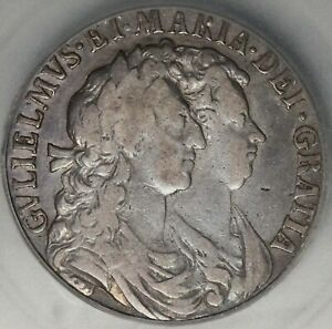 1689 ICG F 15 William Mary 1/2 Crown Great Britain Silver Coin (21061201C)
