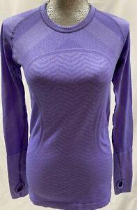 LULULEMON Purple Swiftly Tech Long Sleeve Crew Neck Knit Long Sleeve Top Size 8