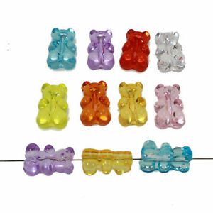 50 Mixed Color Transparent Acrylic Gummy Bear Beads 18mm DIY Earring Jewelry