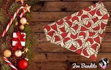 Hecho A Mano Navidad Rojo Sombrero De Santa Claus Navidad Bandana Perro resbalón en el cuello medio
