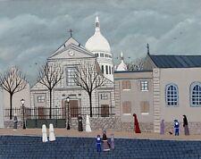 """Gabriel Donnet """"L'église St Pierre de Montmartre"""" Tableau naïf original"""