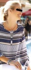 NEUE Bluse Ethno Tunika Gr. 38 / 40 M Designer Damen Shirt blau ecru 3/4 Arm neu