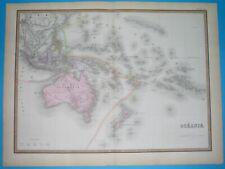 1876 XL RARE ORIGINAL MAP AUSTRALIA OCEANIA PAPUA NEW ZEALAND HAWAII GUAM SYDNEY