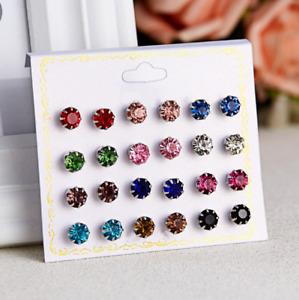 UK 12 pairs Pearl Rhinestone Crystal Ear Stud Earrings Women Fashion Jewelry Set