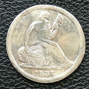 1837 Seated Liberty Half Dime 5c High Grade AU Details #13774