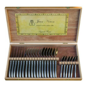 Laguiole 24 Piece Cutlery Set Wooden Gift Box by Jean Neron - Stainless Steel