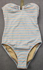 J CREW Womens Blue & Pink Sailor Stripe Bandeau Cup 1 Piece Swimsuit NWT Sz 00