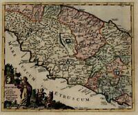 Central Italy Rome Latium Etruria 1710 Senex decorative map lovely hand color