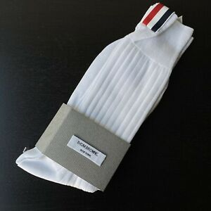 NEW!!! Authentic Thom Browne White Merino Wool Mid-calf Logo Stripe Socks O/S