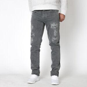 B-Ware Nudie Herren Slim Fit Jeans Hose Grim Tim Destroyed Phantom W28 / W29