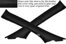 BLACK LEATHER 2X A POST PILLARS SKIN COVERS FITS JAGUAR S TYPE 1999-2007