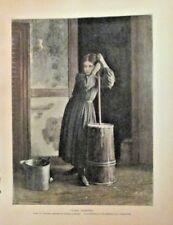 Child, Farm Scene, A Girl Churning, by Eastman Johnson, 1874 Antique Art Print