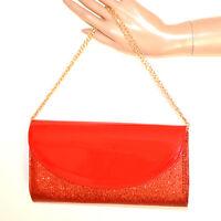 BOLSO CLUTCH roja bag pochette mujer glitter elegante cadena dorada saco sac G36