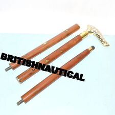 Brass Victorian Style Head Handle Walking Stick Canes Shaft Wooden