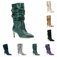 Women Cowboy Pointed Toe Pull On Slouch Mid Calf Riding Boots Snakeskin Print L
