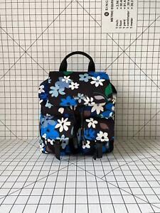 Kate Spade WKR00321 Canvas Cargo Flap Drawstring Backpack Bag with Floral Print