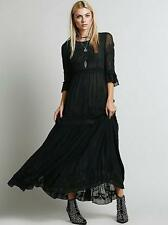Hot Ladies Bohemia Embroidery Cotton Blend Full-Length Skirt Dress Gown Fashion