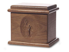 Wood Cremation Urn. Deluxe model with a Black Walnut Finish with a Fish Image