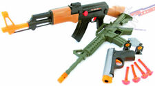 3x Toy Guns Friction AK-47 Toy Rifle Green M-16 Machine Gun Grey 9MM Dart Pistol