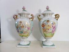 PORCELAINE DE PARIS Paire de Vases Pots couverts Scène galante d' apès BOUCHER
