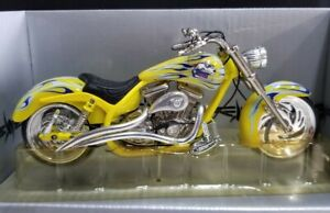 """ARLEN NESS 6"""" 1:18 OUTLAW STEEL MOTORCYCLE YELLOW * GOOD USED CONDITION IN BOX"""