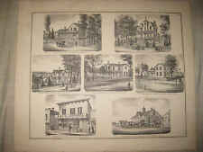 ANTIQUE 1872 MORRISON WHITESIDE COUNTY ILLINOIS PRINT HORSE LIVERY STABLE FineNR