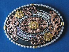 More details for swarovski crystal canyon belt buckle polished antique silver and gold vintage c8