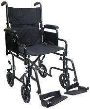 Karman T-2700 Transport Chair Removable Desk Armrests Black Wheelchair 19x16