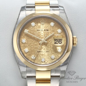 Ungetragen Rolex Datejust 36 116203 2018 Stahl Gelbgold 750 Diamanten Automatik