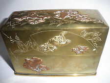 EXQUISITE ANTIQUE JAPAN MIXED METAL PLAYING CARDS DOUBLE DECK BOX OWL FOO DOG