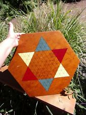 vintage folk art made game board~Chinese Checkers~mid century~primitive decor~